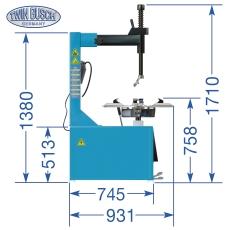 Desmontadora de ruedas semiautomática - brazo de giro lateral
