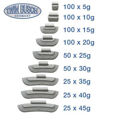 Juego de pesos de equilibrado y percusión de 5-45 g de zinc (ZN)
